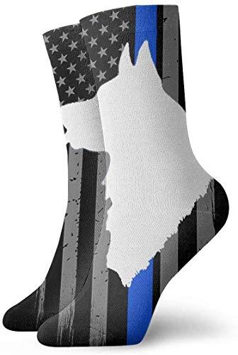 Thin Blue Line Flag Police Dog Men Women Novelty Funny Crazy Crew Sock Printed Sport Athletic Socks 30cm Long Personalized Gift Socks