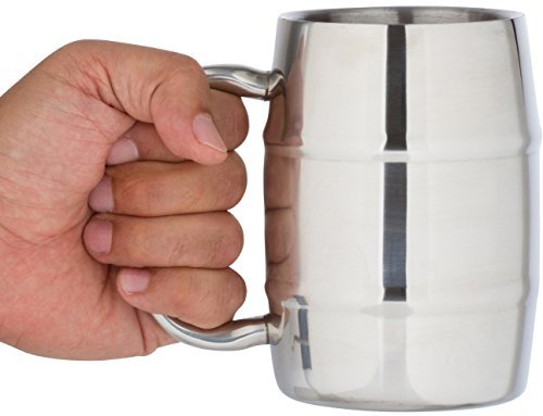 Insulated Coffee Mug & Beer Mug by Bar Brat ™ / 16.9 Oz. by Bar Brat: Forget Glass / Bonus Lid Included / Perfect Gift For Men / 130 Cocktail Recipe Ebook Included