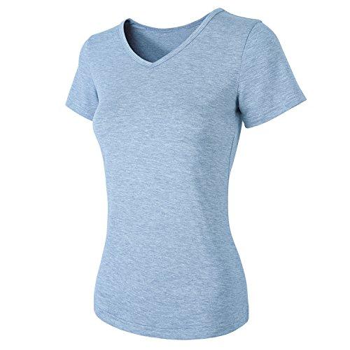 HENCY T-Shirt à Manches Courtes et Col V Pour Femme, Lot DE 3 dans Différentes Couleurs, Noir Gris Blanc Bleu clair