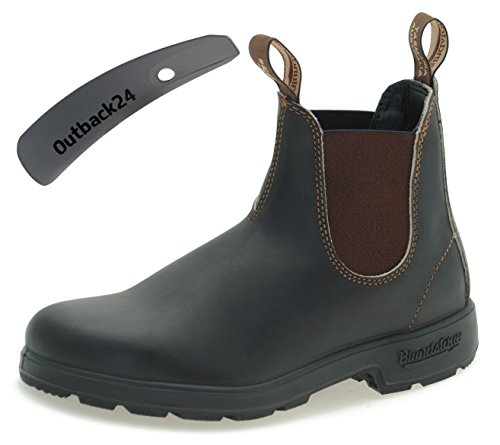 Blundstone Style 500 Classic Chelsea Boots Unisex Stiefelette - Stout Brown + Schuhlöffel (UK 10.5 / EU 45.0) -