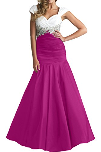 Gorgeous Bride Elegant Breit Traeger Mermaid Taft Applikation Abendkleid Ballkleid Festkleid Weiss-Fuchsia
