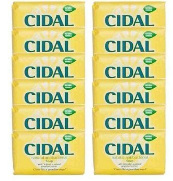 Cidal Natural Antibacterial Soap Bars 125g x 12 - Neutralises odours, Fresh