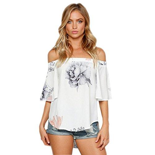 Zolimx Damen Frauen Off Shoulder Floral Printed Blusen Tops (Weiß, M)