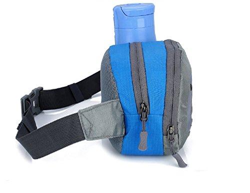 Unisex Läufer Tasche Hüfttasche Gürteltasche Schulranzen Tasche mit Flaschenhalter für Sport im Freien,Radfahren,Wandern,Camping Blau