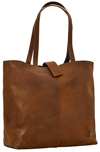 "- 41 X4SArm1L - Leather Shopper Gusti Leder studio ""Alexandra"" Ladies Shoulder Tote Handbag 15″ MacBook Laptop Casual Smart Vintage Accessory Brown 2H52-33-1"