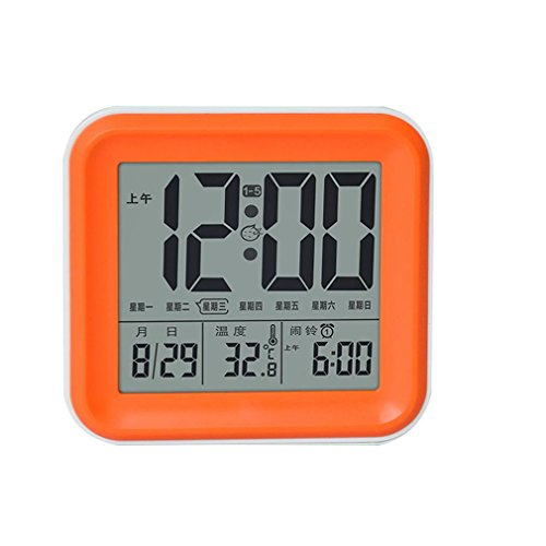 Quadratische Decke Diffusor (Wecker Multifunktion Elektronischer Kalender Kreativer Intelligenter Quadratischer Leuchtender Wecker , Orange)