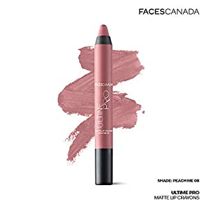 Faces Canada Ultime Pro Matte Lip Crayon Peach Me 08 2.8 g With Free Sharpener (Peach)