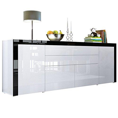 Vladon Buffet commode La Paz V2, Corps en Blanc haute brillance/Façades en Blanc haute brillance une bordure en Noir haute brillance