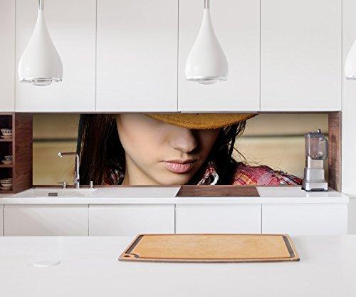 Aufkleber Küchenrückwand Sexy Frau Cowgirl Cowboy Hut Erotik Folie selbstklebend Dekofolie Fliesen Möbelfolie Spritzschutz 22A970, Höhe x Länge:70cm x 200cm (Cowgirl-folie)