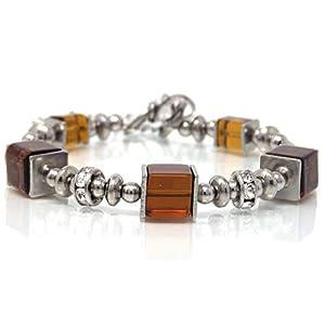 Damen Edelstahl Starre Schokolade Armband mit Glasperlen und Strass Perlen