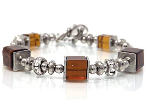 Damen Edelstahl Starre Schokolade Armband mit Glasperlen und Strass Perlen - Armband Schokolade