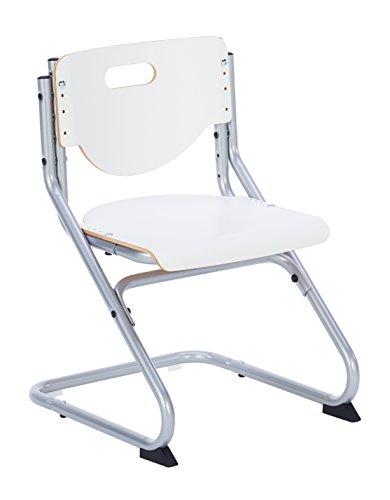 Kettler Chair Plus White Schreibtischstuhl Kinder – hochwertiger Kinderschreibtischstuhl MADE IN GERMANY – Bürostuhl ergonomisch & höhenverstellbar – Freischwinger, der mitwächst – weiß & silber (Ein Stuhl Für Schreibtisch)