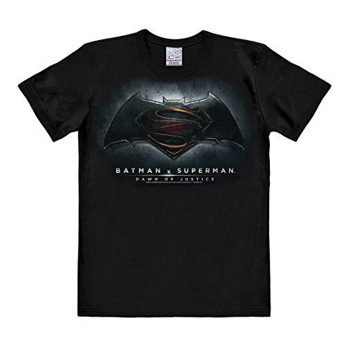 Logoshirt DC Comics - Batman v Superman - Dawn of Justice T-Shirt Herren - Schwarz - Lizenziertes Originaldesign, Größe S