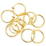 Wholesale Rhodium Plated Gold Color Non-piercing Spring Hoop Belly Clip Illusion Clips Nose Lip Fake Piercing Fool You lot of 10pc By Eg Gifts by EG GIFTS