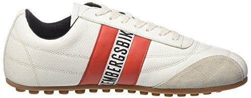 BIKKEMBERGS Unisex-Erwachsene Soccer 106 Low-Top Bianco (White/Red)