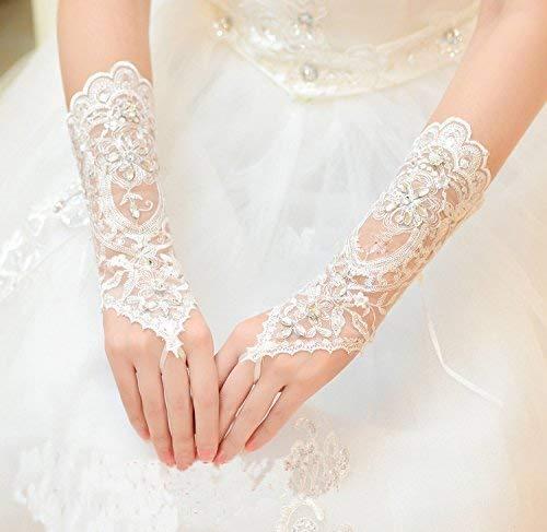 Nupcial boda guantes encaje marfil flor estilo vintage