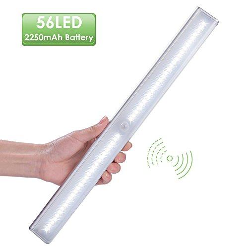 Küche Regal Licht (Unterbauleuchte Schranklicht LED Schrankbeleuchtung , LOFTer 56-LED , Batterie mittels USB Wiederaufladbar , 4 Licht Modus mit Bewegungsmelder , mit Magnetsband Montage für Schrank Treppe Küche(Weiß))