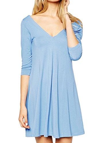 sourcingmap® femmes col V profond manches 3/4 Robe tunique décontracté sans doublure blue