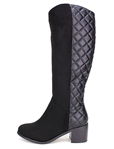 Cendriyon Botte Noire Matelassée JUINIA Moda Chaussures Femme