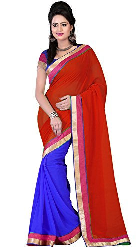 Om Designer Half-Half Chiffon Women's Saree with Blouse Material (Red-Blue)  available at amazon for Rs.299