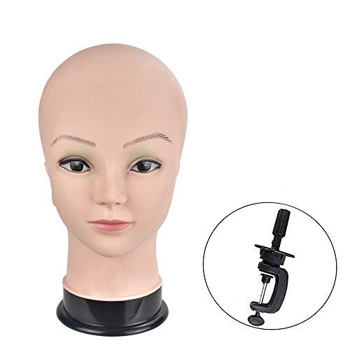 Bald weiblich Professional Schraubenmännchen Head cometology Mannequin Kopf für Perücke macht und der Anzeige mit Klemme (Mannequin Kopf Und Klemme)