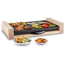 Klarstein Lumberjack barbacoa de mesa con plancha (2.300 W de potencia, superficie 1.400 cm², aluminio antiadherente fundido con soporte de madera, regulador de temperatura)