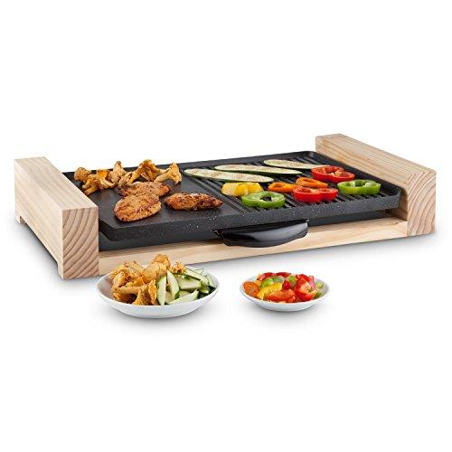 Klarstein lumberjack griglia elettrica (2300 watt di potenza, manopola per regolare la temperatura, design elegante, cucina sana e senza grassi) - nero/legno
