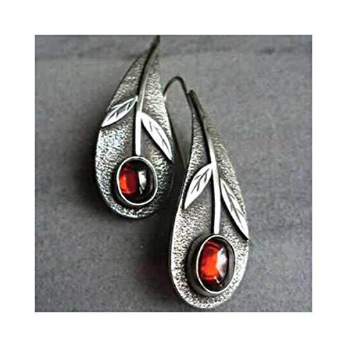 Ohrhänger, Vintage Pendientes Metal Antique Silver Leaf Drop Earrings Boho Ethnic Red Resin Stone Women Earrings Oorbellen Gifts Z3D240 -