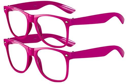 2 er Set EL-Sunprotect Klar Glas Nerdbrille Brille Nerd Sonnenbrille Hornbrille Streber