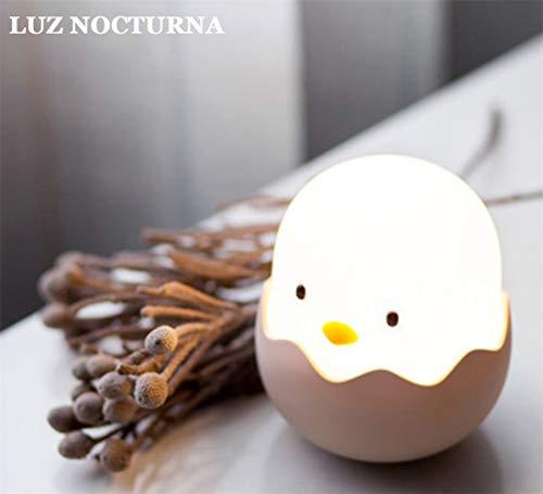 Tanouve Luz Nocturna Bebé, 1200mAh Silicona Lámpara de Polluelo con Brillo Ajustable/Control Tátil/Regargable para Niños y Bebés