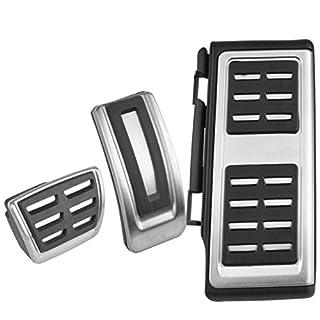 Emblem Trading Autozubehör Tuning Edelstahl Pedale Pedal Pedalkappen Gaspedal Bremspedal mit Fußstütze Automatikgetriebe Plug Play Installation