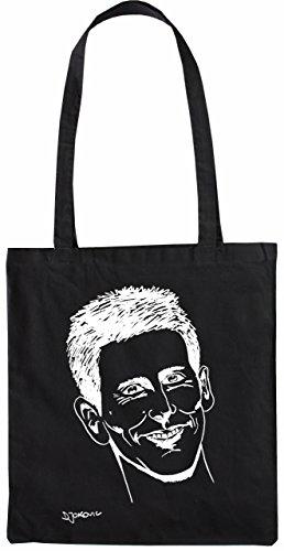 Mister Merchandise Tote Bag Novak Djokovic Karikatur Djoker Borsa Bagaglio, Colore: Nero