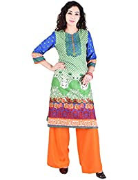 Teej Grafic Printed Indo-Western Desigenr Casual Cotton Kurti With Rayon Palazzo Ethnic Set