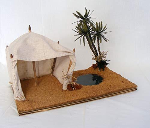 De sisinno oasi per presepe con tenda, laghetto e palme h25x40x25 cm