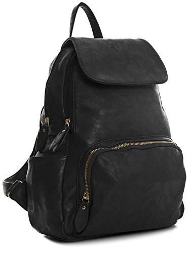 Big Handbag Shop , Zainetto per bambini Nero (Black - Gold Zip)