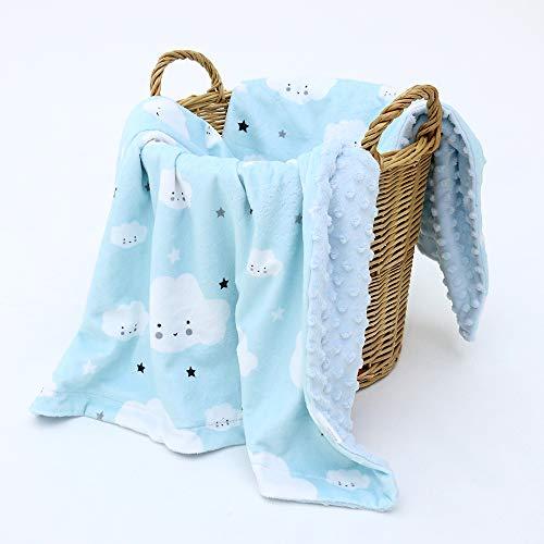 KlassMi ❤ Babydecke Junge   Kuscheldecke Baby   Krabbeldecke   Puckdecke   Erstlingsdecke   Fleecedecke   Spieldecke   Minky dots   blau   76x102   Geschenk zur Geburt   Erstausstattung