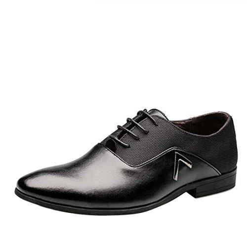 wenjhen hommes Robe formelle Chaussures à lacets, UK6, noir noir