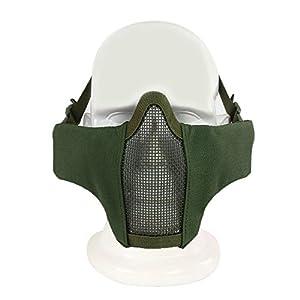 Haoyk Demi visage pliable en maille Masque confortable de style militaire tactique réglable Bas du visage Masque de protection