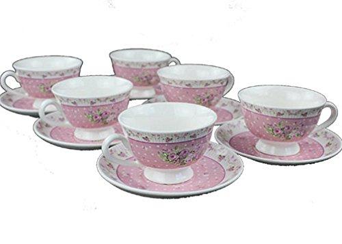 Shabby Chic Floral Bettwäsche Baumwolle Geschirrtücher roostery Set von 6Rose Hibiskus Calico-Rosen pastell Geometric Flowers Country Style Pink Set (Pink Floral Calico)