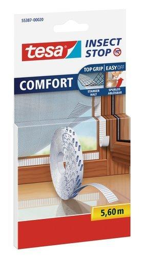 Tesa insect stop comfort zanzariera per finestra, con rotolo di ricambio in velcro, 5,6m, bianco, klettband ersatzrolle, 1