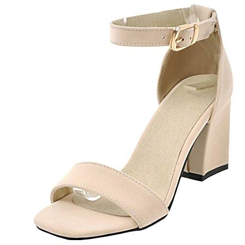 Strap High Heel (Agodor Damen Riemchen High Heels Sandalen mit Schnalle und Blockabsatz Ankle Strap Pumps Sommer Schuhe)