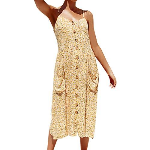 Frauen floral ärmellos drucken Trägerkleid Sommer Tasche Einreiher ausgestelltem V-Ausschnitt Kleid URIBAKY