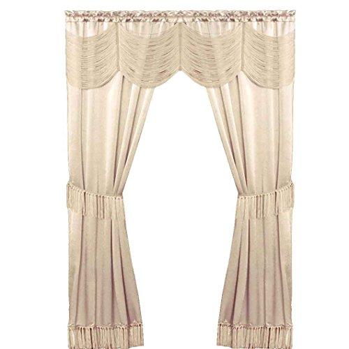 Pfirsich Couture 6Stück Satin Fenster Vorhang Set Seitenteile, Querbehang, Krawatte Rücken, Satin, elfenbeinfarben, 56 x 63 Vorhänge Gelb Volant