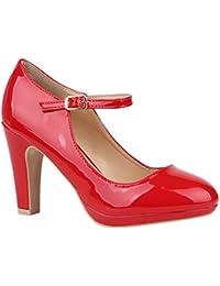 Stiefelparadies Damen Pumps Mary Janes mit Blockabsatz Lack Schleifen  Flandell c567fad802