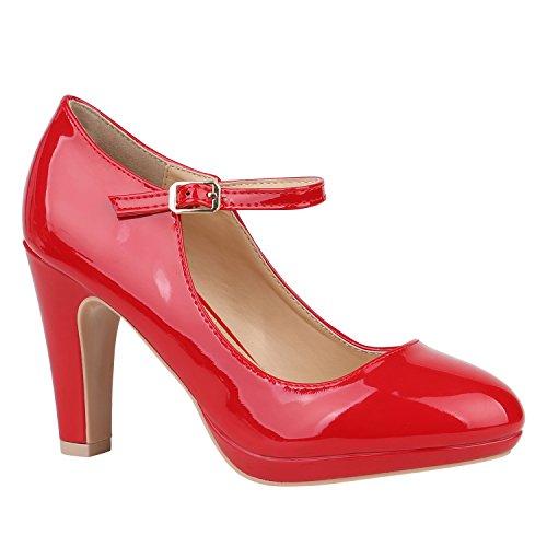 Damen Schuhe Pumps Mary Janes Veloursleder-Optik High Heels Blockabsatz 152430 Rot Lack Lack 39 Flandell