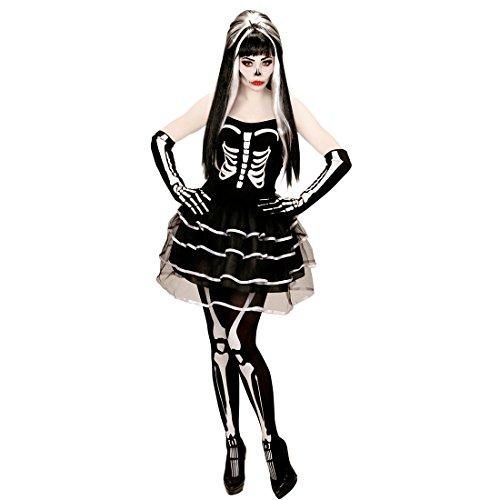 Amakando Skelettkostüm Halloween Skelett Kostüm Damen XL 46/48 Gerippe Halloweenkostüm Frauen Knochen Damenkostüm Sugar Skull Kleid Zombie Verkleidung ()