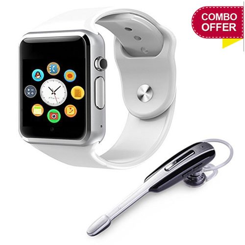 Shopzie A1 Bluetooth HM 1000 Bluetooth Head Set and Smart Watch with Camera and Apps Like Facebook Whatsapp QQ WeChat Twitter Health Pedometer Dentary Remind & Sleep Monitoring (White)
