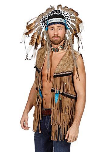 The Fantasy Tailors Indianer-Kostüm Herren Indianer-Weste mit Fell und Fransen (ohne Häuptlingsschmuck) Adler Falke Apache Karneval Fasching Hochwertige Verkleidung Größe 48 Beige (Fell Weste Kostüm)