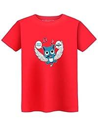 57d5f4415080 Fairy Tail Camiseta Exquisita Camiseta de Manga Corta Suelta Cuello Redondo  Estilo Salvaje Patrón de Dibujos Animados Imprimir Camiseta…