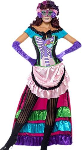 Imagen de erdbeerloft–para disfraz de mujer mexicano fijo calavera hueso print fancy vestido, s de l, color rosa rosa small